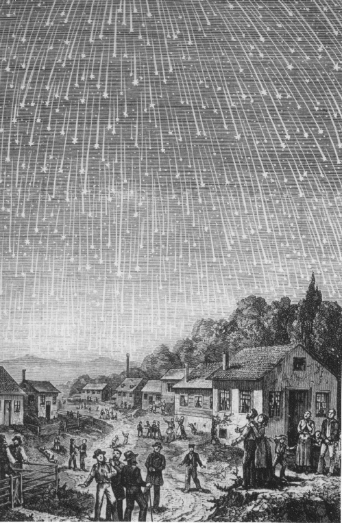 1889 depiction of the 1833 Leonids, based on a first-hand account of Joseph Waggoner. (Adolf Vollmy/Public Domain)