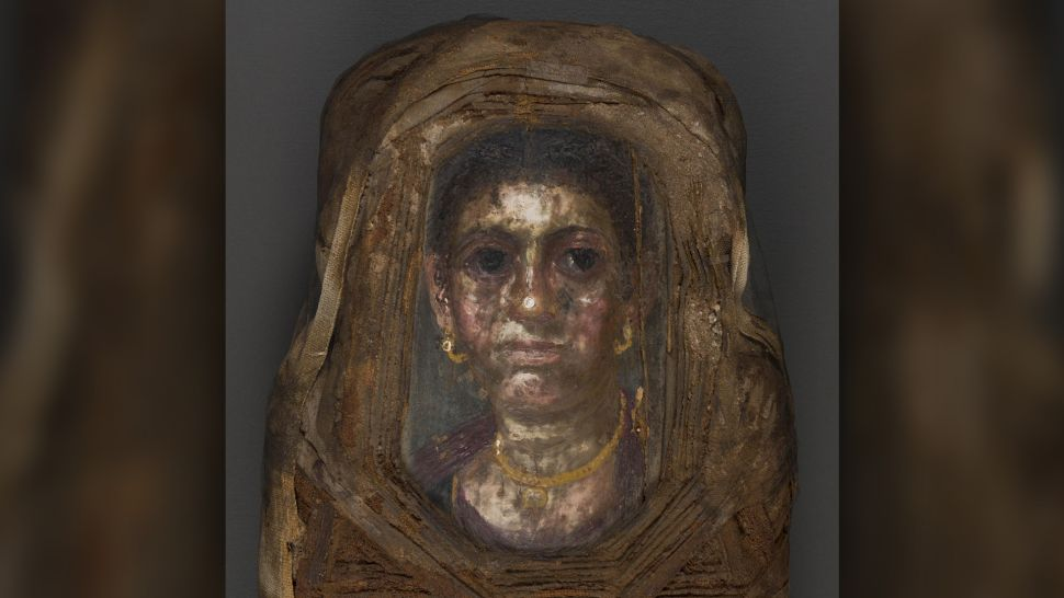 Portrait of woman on Egyptian child mummy
