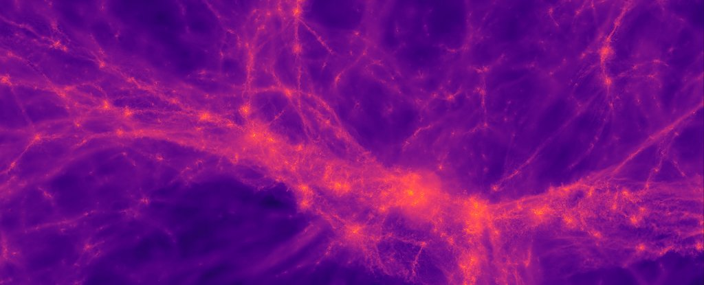 Large-scale structure of the cosmic web of gas filaments in the early universe.