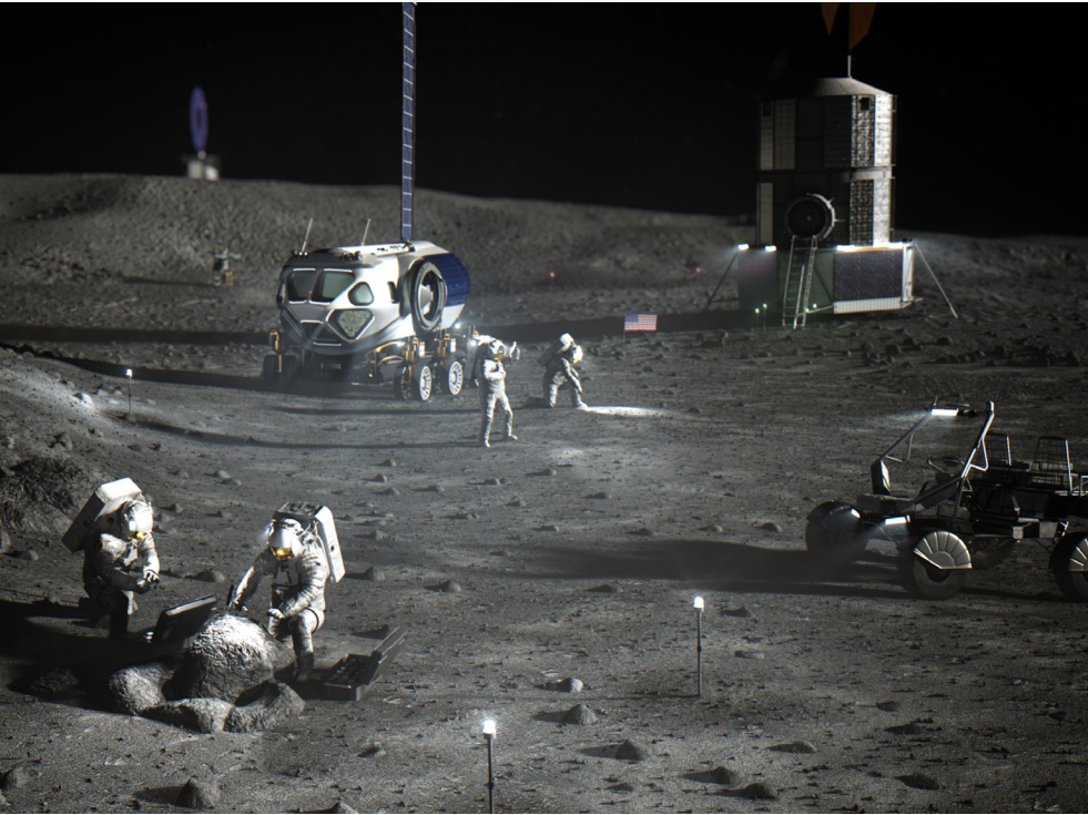 An artist's concept of the Artemis Base Camp. (NASA)