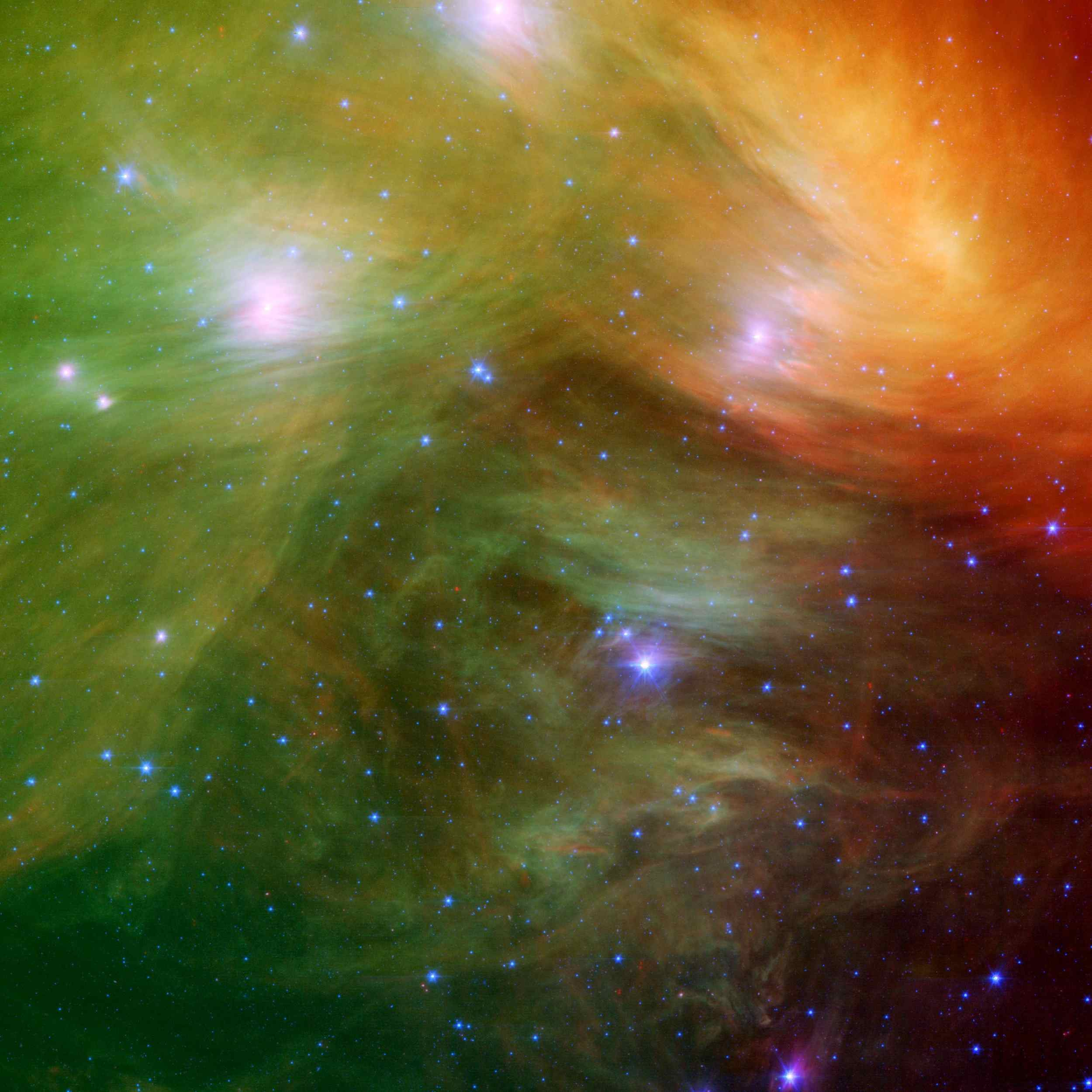 The Seven Sisters, also known as the Pleiades star cluster, in infrared. (NASA/JPL-Caltech)