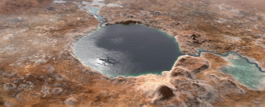 Illustration of Jezero Crater as it may have looked billions of years ago.