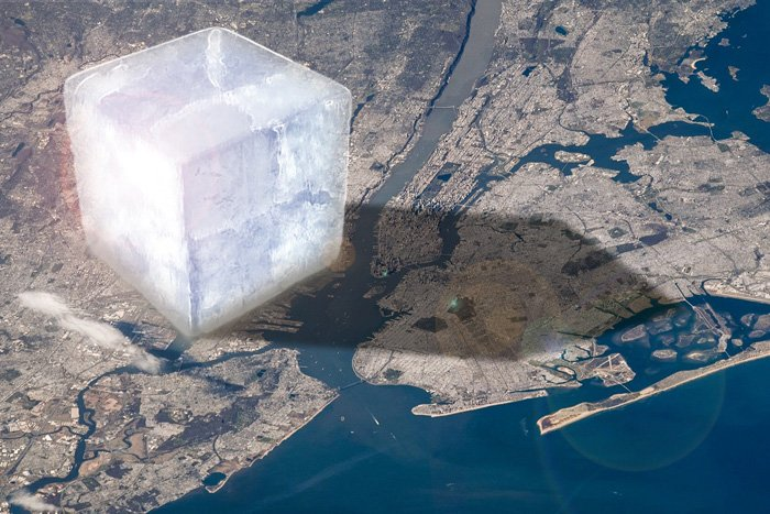 An illustration shows a giant ice cube on a map of New York City.