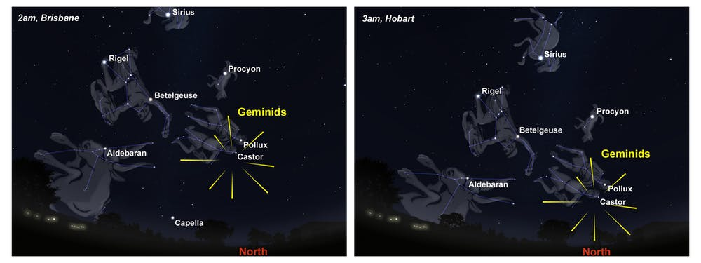 An illustration shows the Geminid meteors over the skies of Brisbane and Hobart in 2021