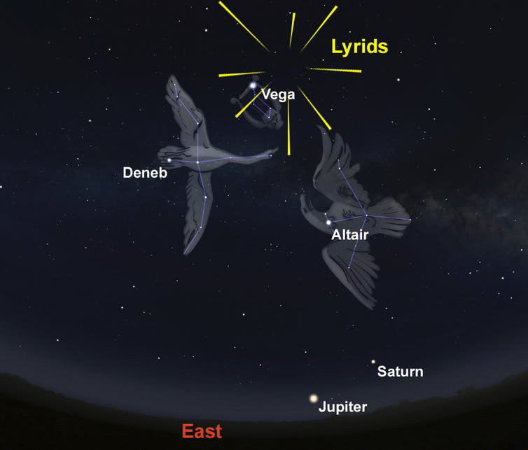 An illustration of where to spot the Lyrid meteors in the Eastern sky in 2021