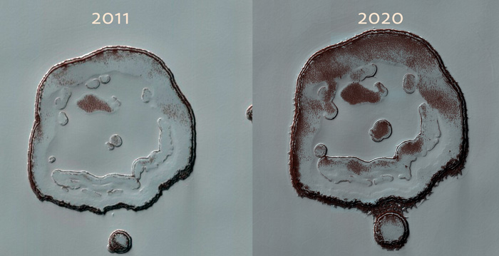 A side-by-side comparison of Mars's happy face crate in 2011 and 2020.