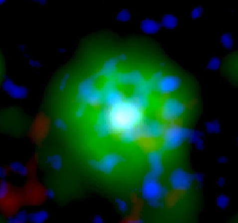 The star J005311 477 glows green in X-ray.