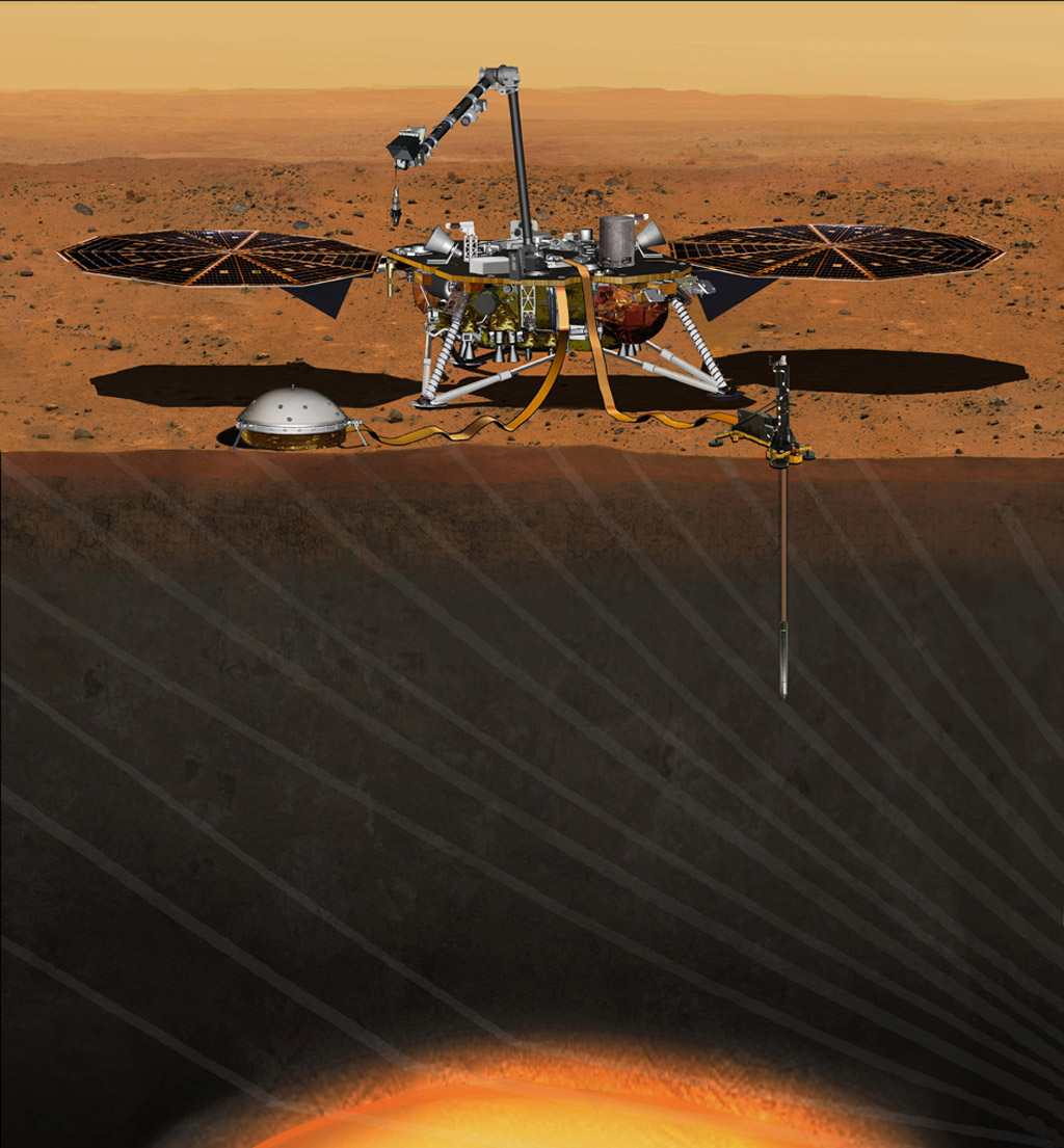 Artist's concept of NASA's InSight Mars lander fully deployed. (NASA/JPL-Caltech)
