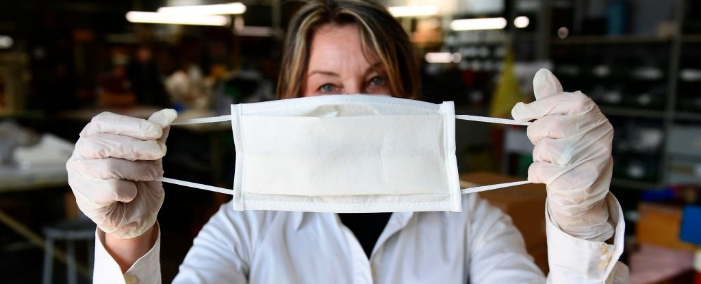Surgical mask being made in Italy in March 2020.