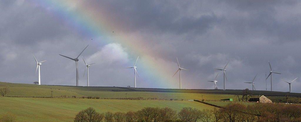 A rainbow over a windfarm in Wortley, near Sheffield in 2016.