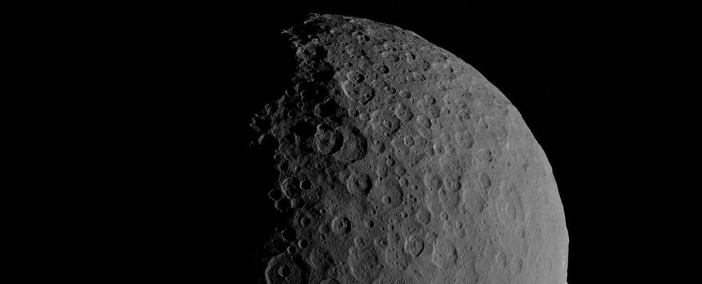 Ceres' cratered surface.