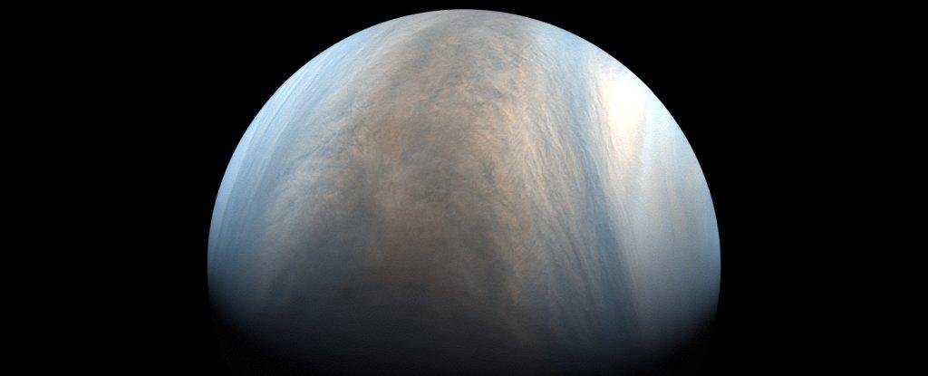 False-colour image of Venus in ultraviolet, imaged by Atatsuki.
