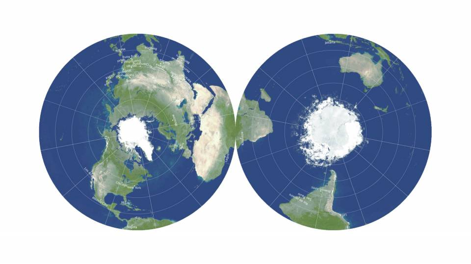 Two-sided Earth map