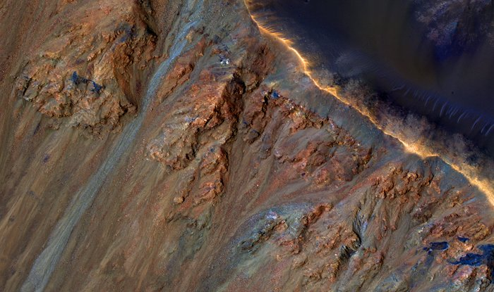 Colorful Equatorial Gullies in Krupac Crater on Mars