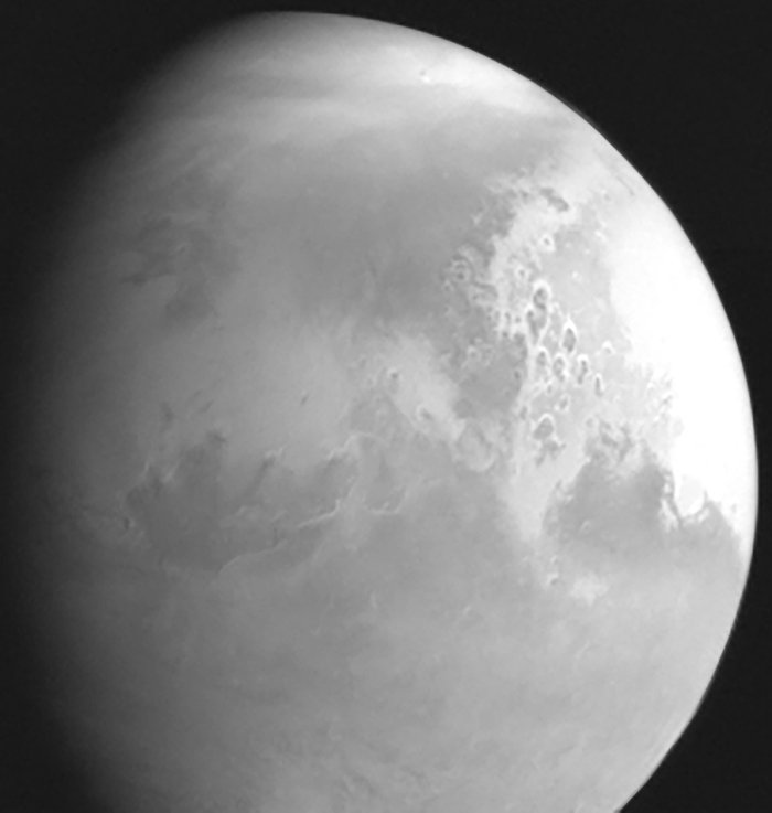 Tianwen-1's first photo of Mars shows the planet in black and white.