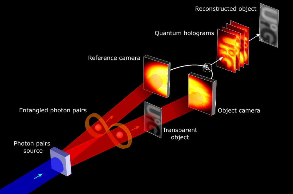 A blue beam representing photon pairs runs through a gray square representing the photon's source. Passing through the square, the beam turns red and, after passing through an infinity symbol that represents entangled photon pairs, the beam brances off into two different beams. The left-hand beam passes through a rectangle that represents the reference camera. The right-hand beam passes first through a transparent object and then through a rectangle that represents an object camera. The two red beams are now white lines and merge back together, passing through four rectangles that represent quantum holograms and then become the reconstructed object, represented by an opaque gray rectangle.