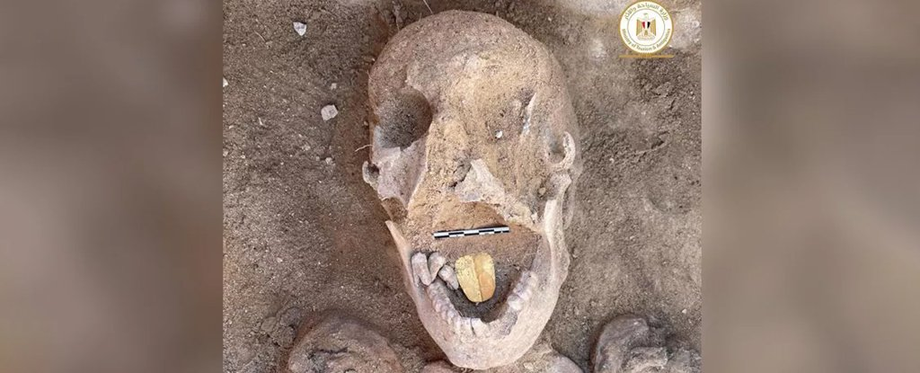 Mummy buried with a golden tongue.