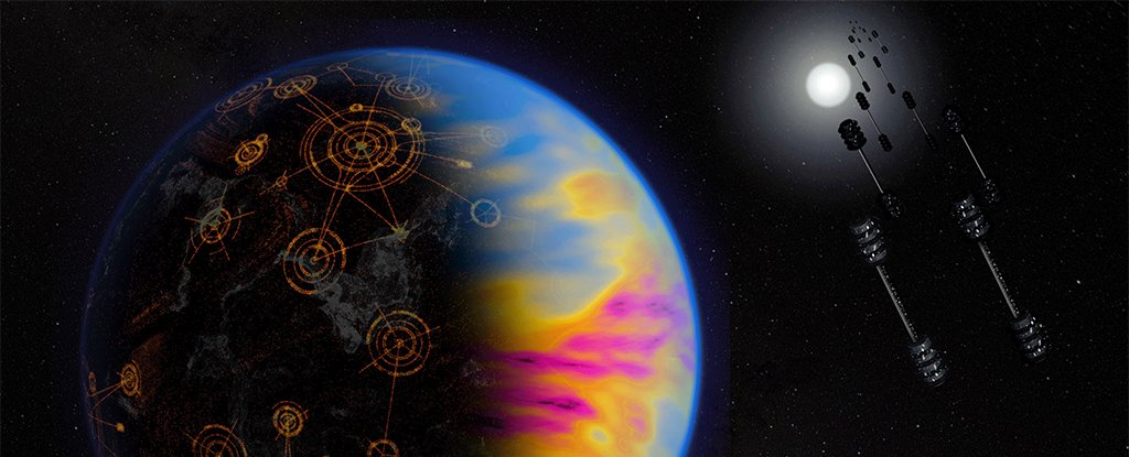 Artist's illustration of a technologically advanced exoplanet, with exaggerated colours.