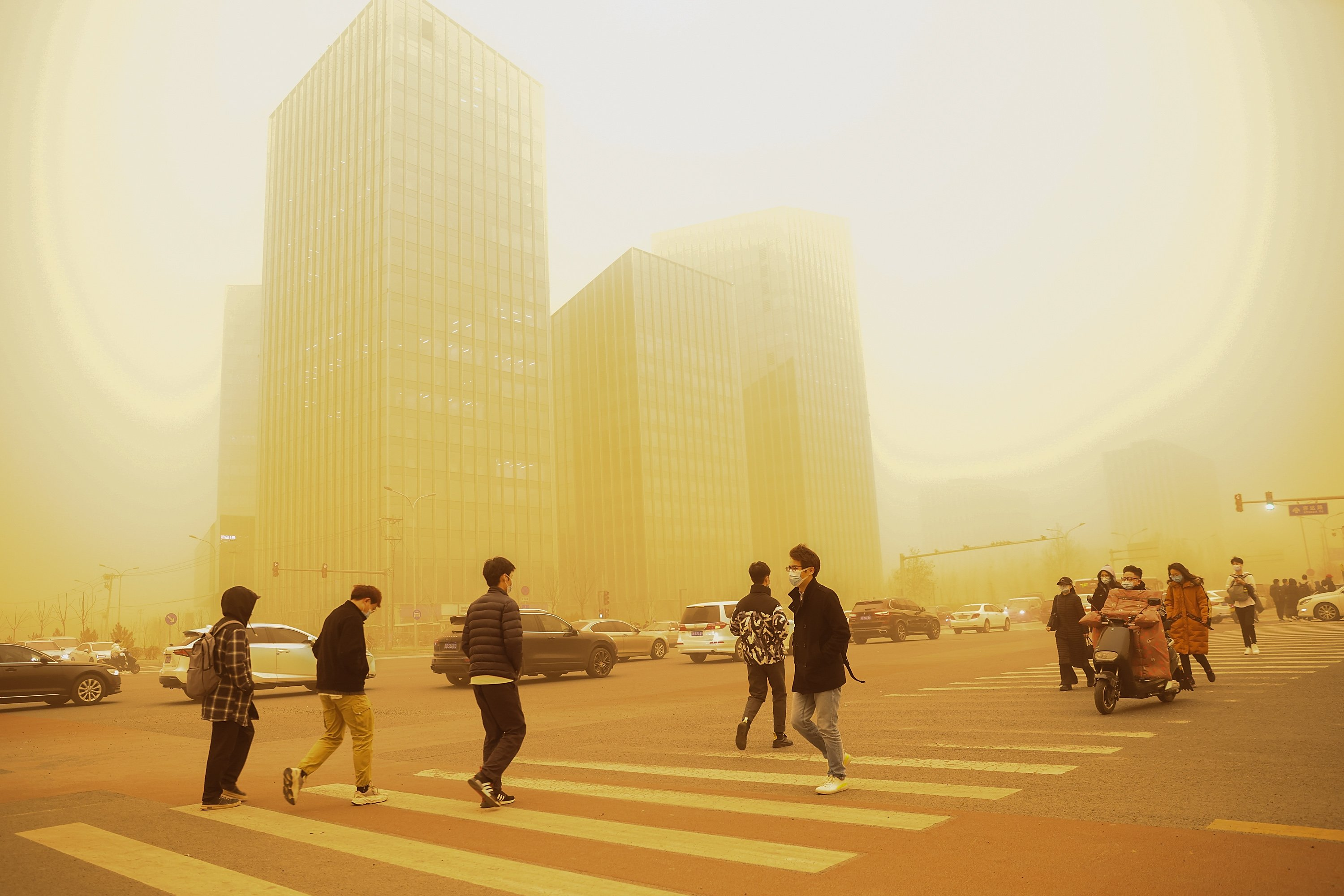Record-Breaking Sandstorm Chokes Beijing in a Surreal Veil of Orange Dust  GettyImages-1231724348