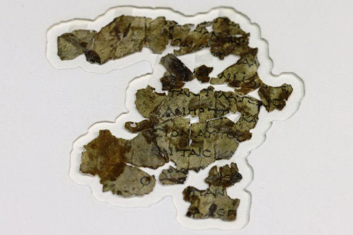 2000-year-old biblical scroll fragments from the Bar Kochba period, Israel, 16 March 2021. (Menahem Kahana/AFP/Getty Images)
