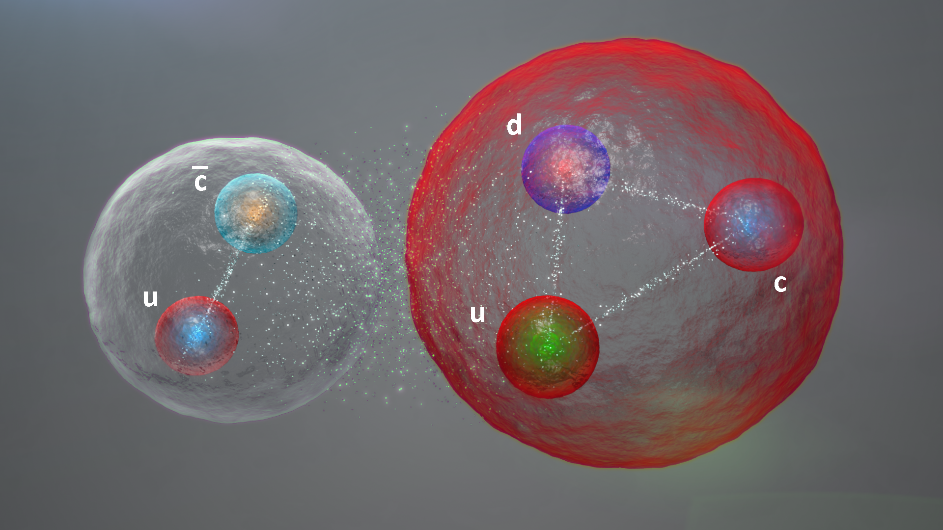 Is a pentaquark a molecule? A meson (left) interacting with a proton (right). (CERN)