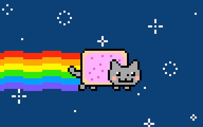 8 bit image of a pop-tart cat flying through space with a rainbow trail