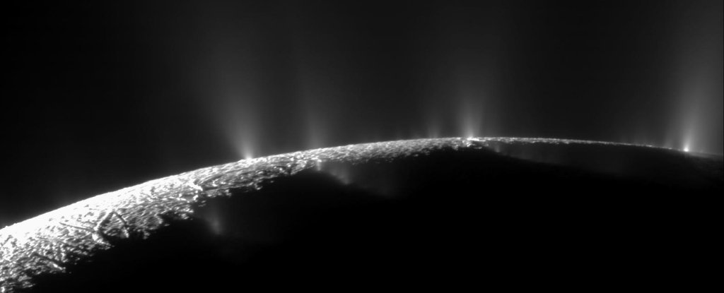 Geysers on Enceladus, imaged by Cassini.