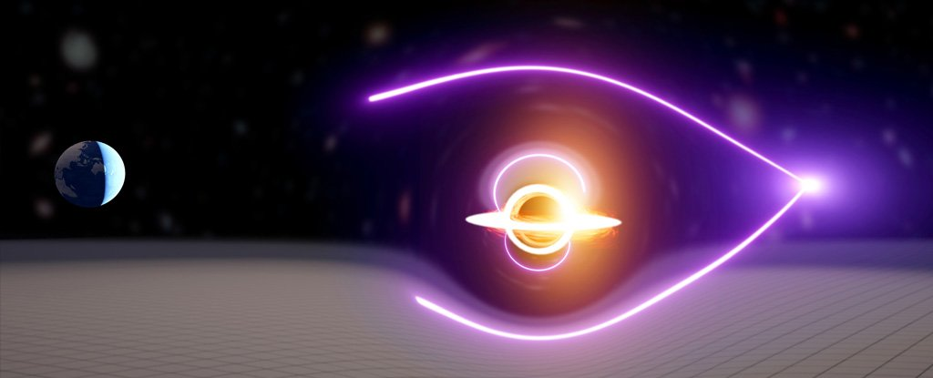 Artist impression of the gravitationally lensed discovery.