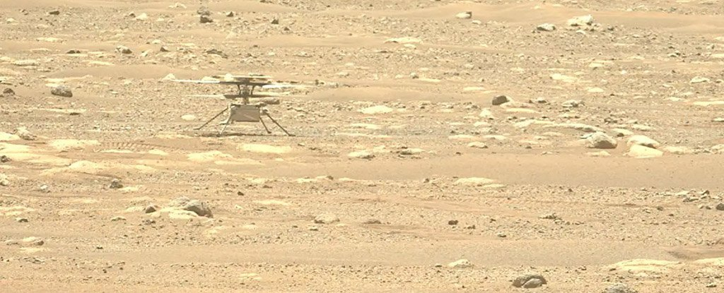 The Perseverance rover snapped this photo of Ingenuity on April 29.