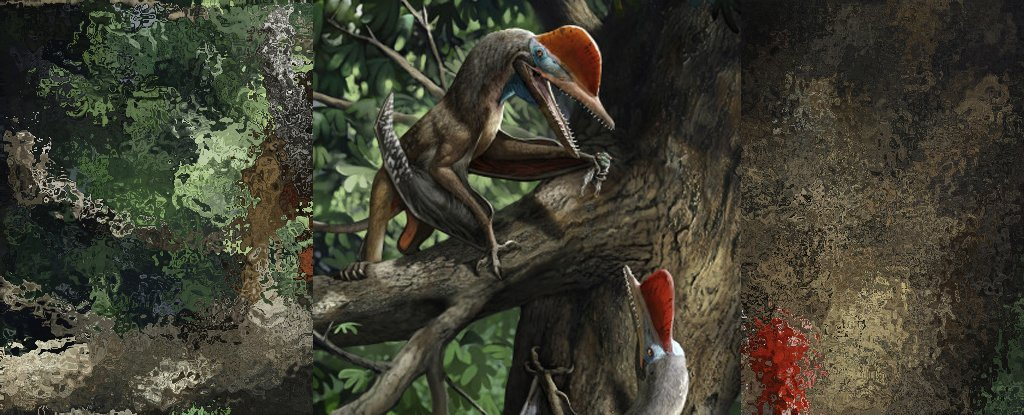 An illustration of two 'Monkeydactyls' climbing in a tree.
