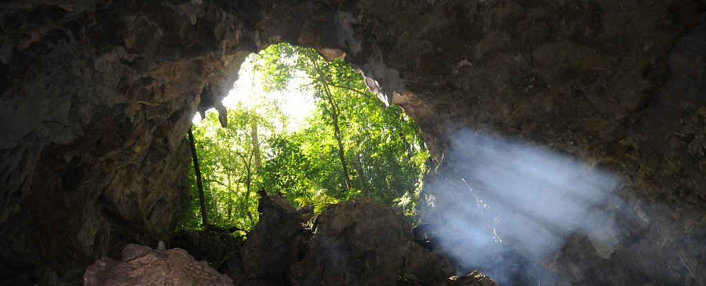 The cave entrance.