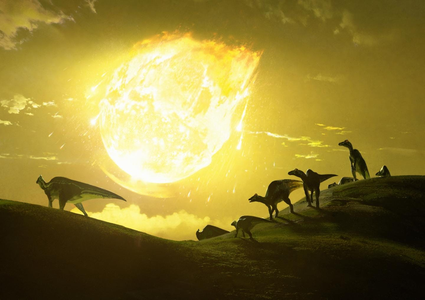 Artist's depiction of Chicxulub asteroid striking what's now Mexico 66 million years ago. (Chase Stone)