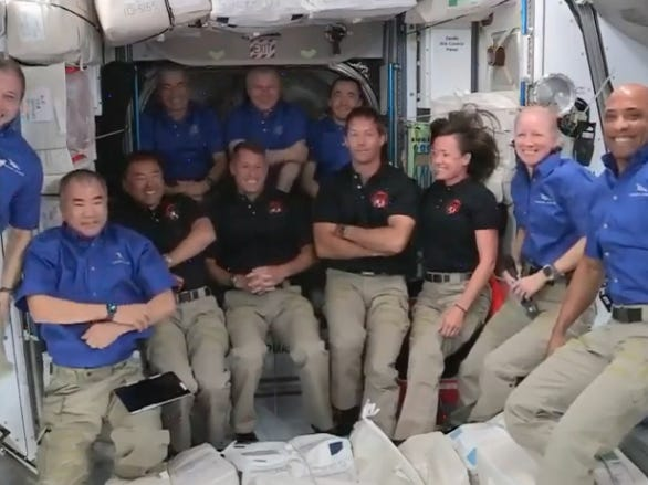 The 11 humans aboard the International Space Station last week. (NASA)