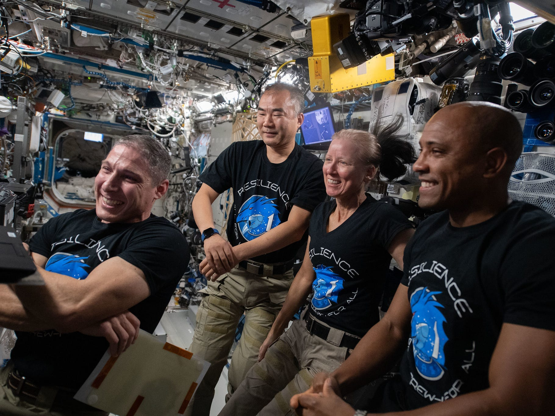 Mike Hopkins, Soichi Noguchi, Shannon Walker, and Victor Glover joining a video conference, 7 February 2021. (NASA)