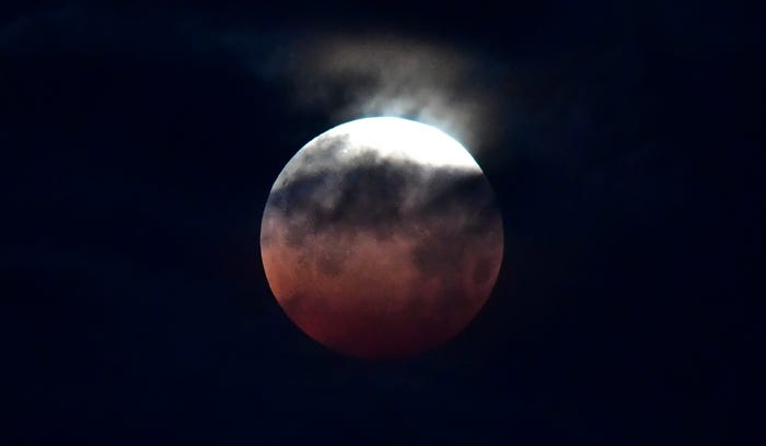 Close up of eclipsed moon with top part in shine, against a dark sky