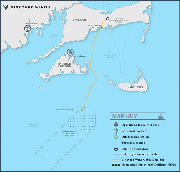 map showing location of wind farm south of marthas vineyard