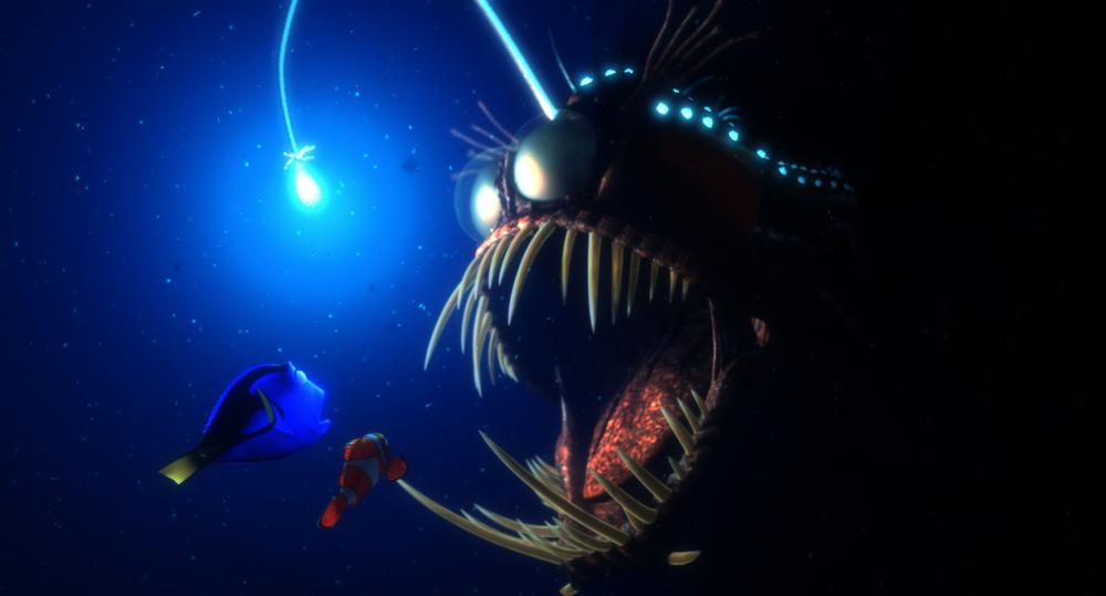 Dory and Marlin encounter a hungry anglerfish in film, Finding Nemo. (Pixar Animation Studios)