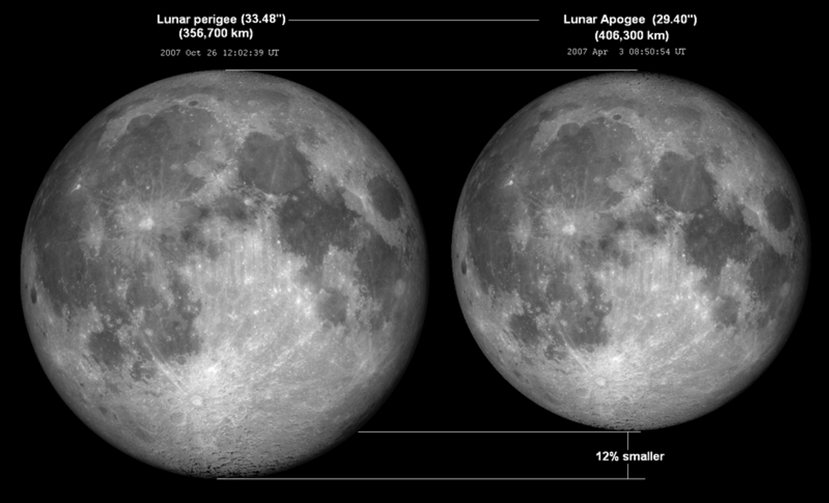 The Moon appears 12 percent bigger when it's closest to Earth compared to when it's furthest. (Tomruen/WikimediaCommons/CC BY-SA)