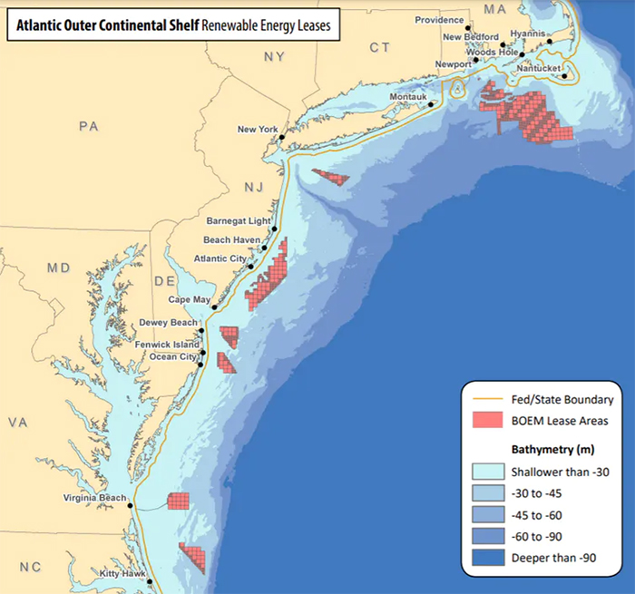 map showing wind farm leases off north east coast of the US