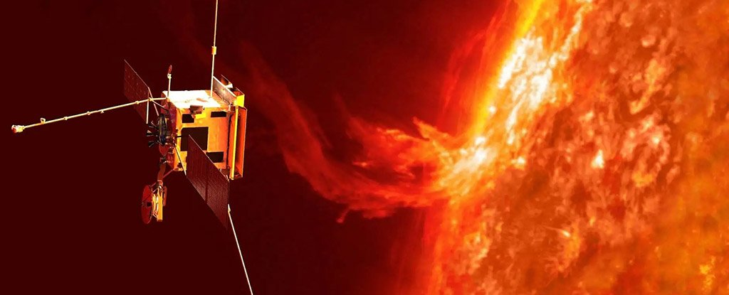 An artist's impression of the Solar Orbiter observing an eruption on the sun.