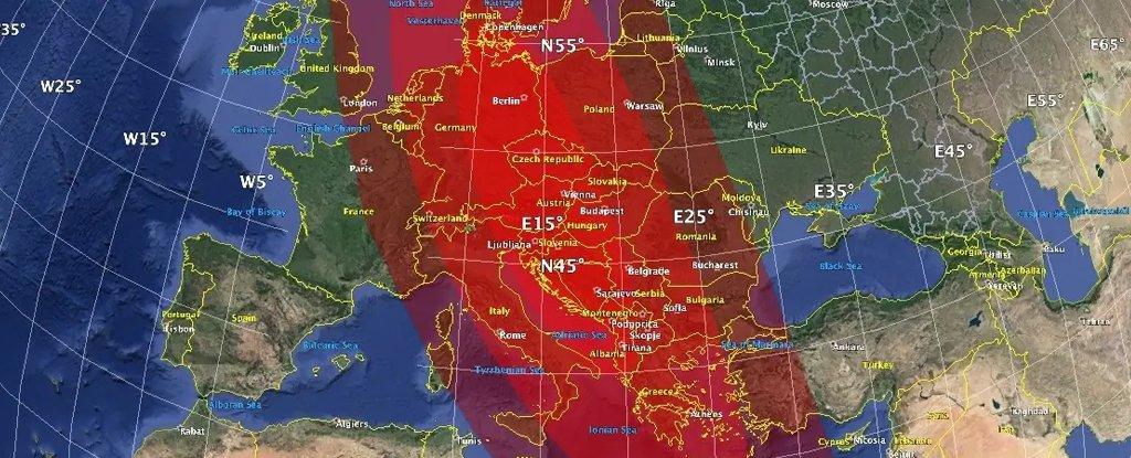 The predicted impact zone.
