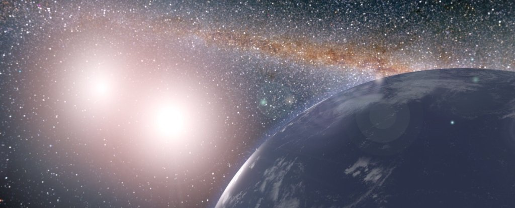 Artist's impression of a habitable world in a binary system.