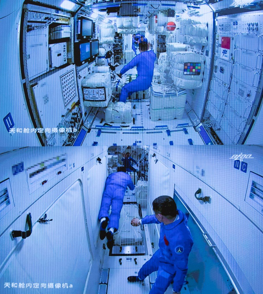 Chinese astronauts aboard space station