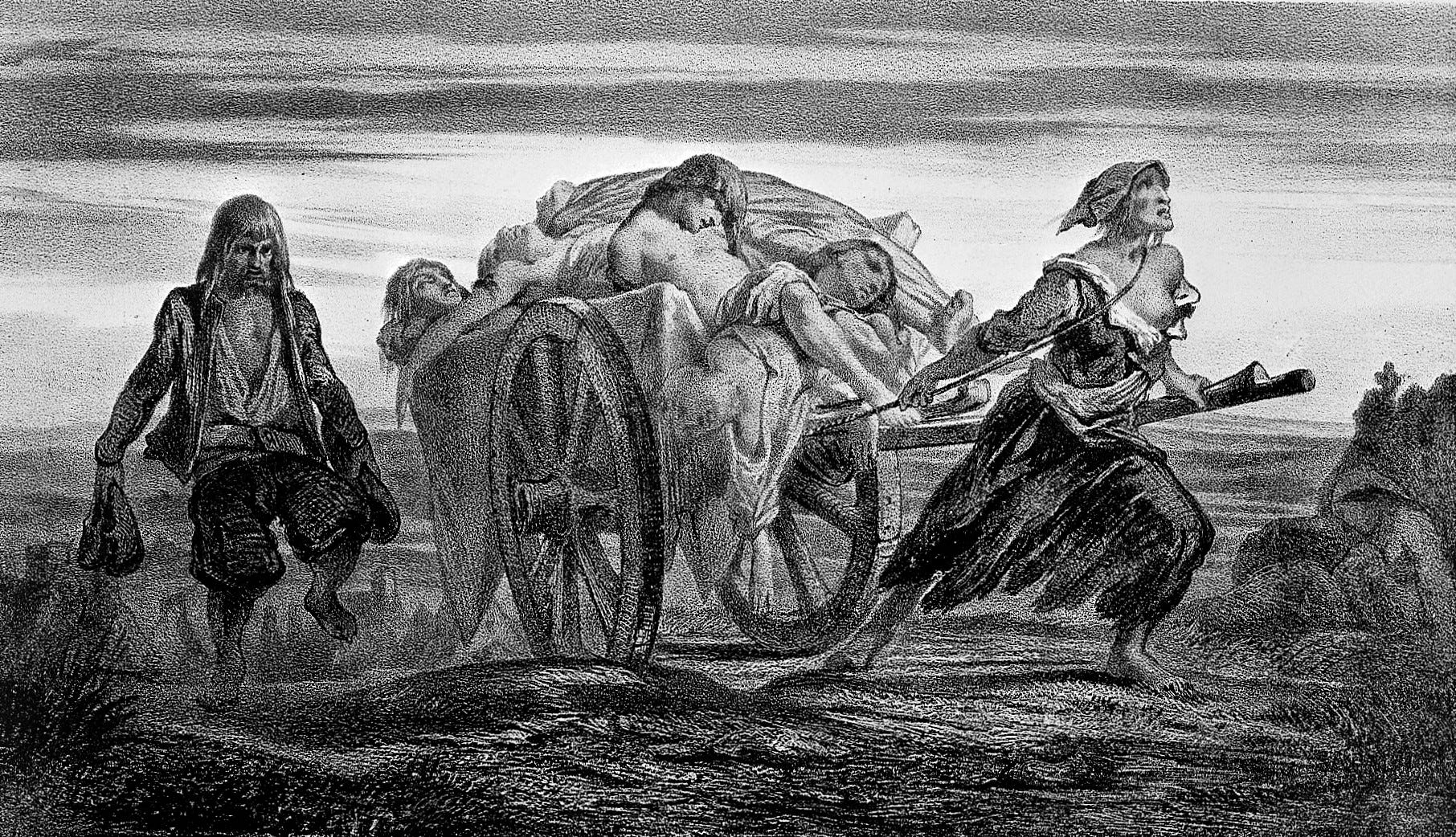 'Carting the Dead' depicts people who died from the Black Plague in the 1300s. (Jean-Pierre Moynet/Wikimedia)