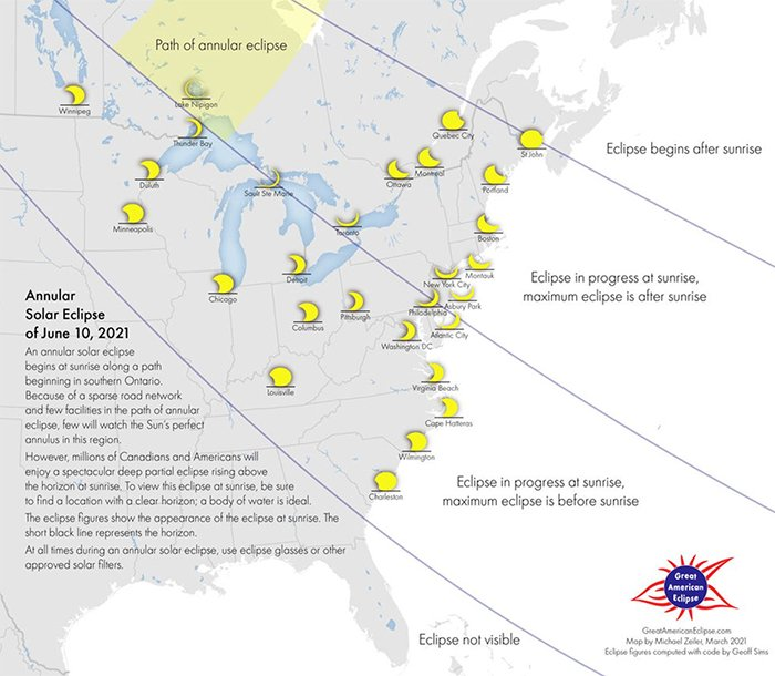 Map of eastern half of north america showing different paths for the eclipse