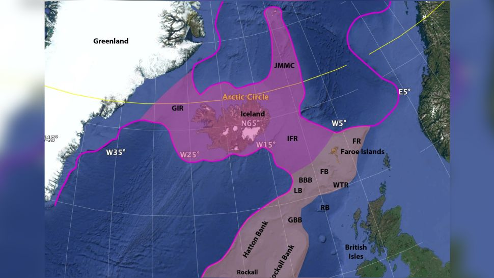 map with suggested boundary of Icelandia connecting Greenland to Europe