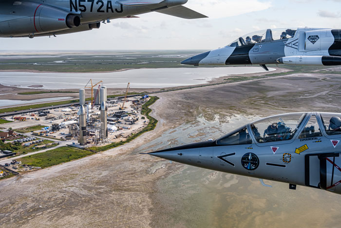 The Inspiration4 crew flies jets above SpaceX's facilities in Boca Chica, Texas.