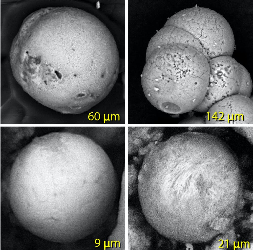Spherules made of melted sand (upper left), palace plaster (upper right) and melted metal (bottom two). (Malcolm LeCompte, CC BY-ND)