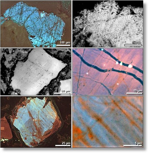Electron microscope images of numerous small cracks in shocked quartz grains. (Allen West, CC BY-ND)