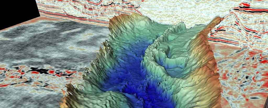 One of the tunnel valleys revealed by the seismic data.